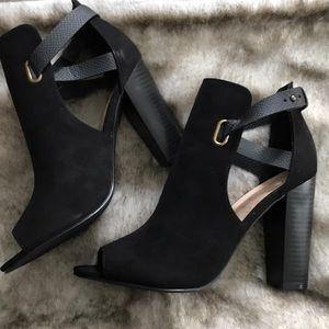 Shoe Dazzle Black Peep Toe Rika Bootie Sandal 11